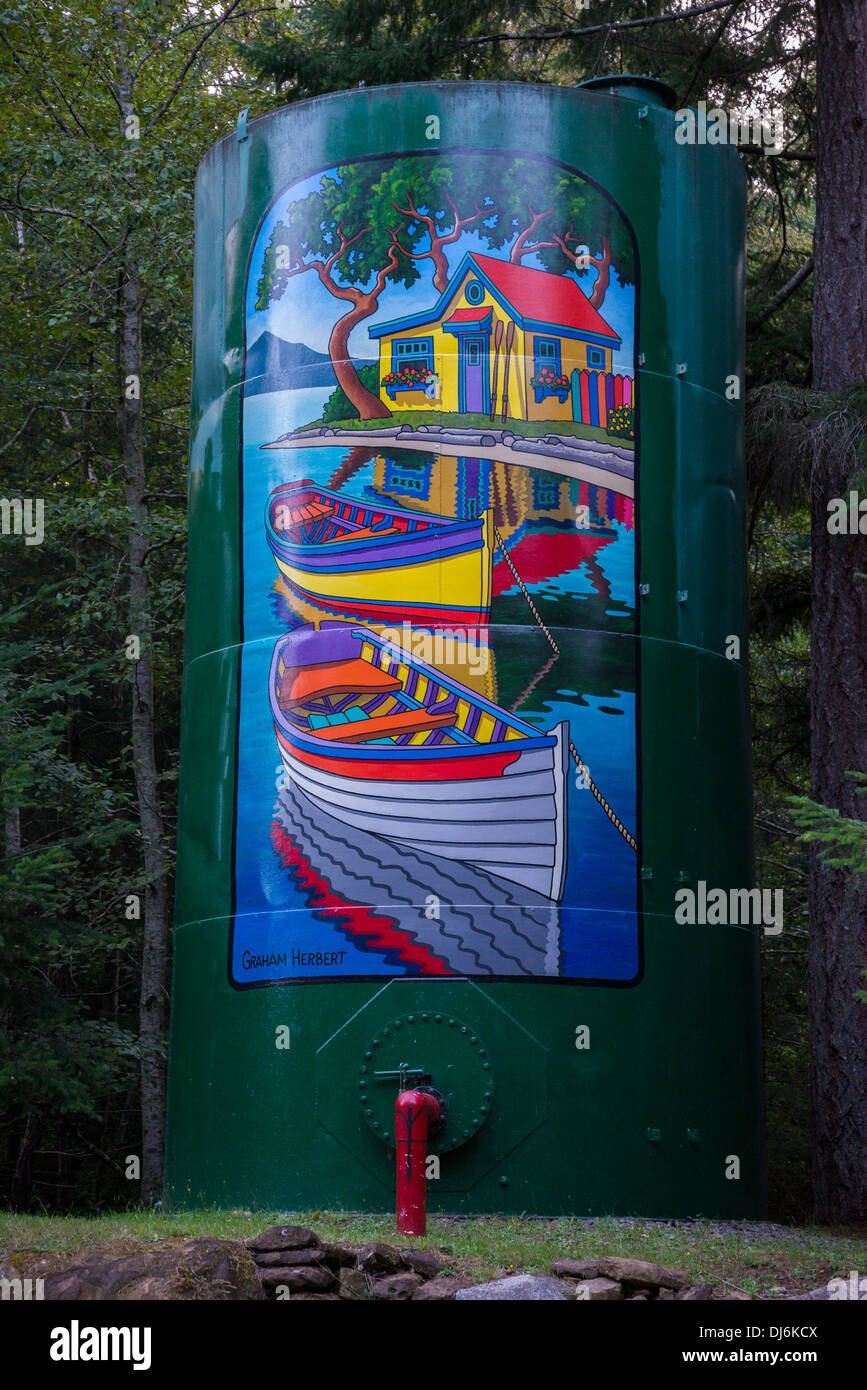 Mural painted on water storage tank, Hornby Island, British Columbia, Canada - Stock Image