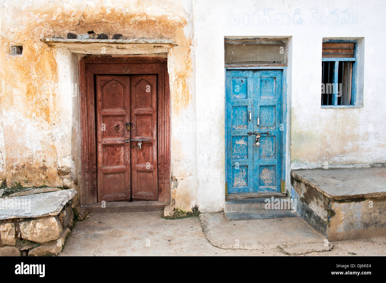 Old Wooden doors in an rural indian village. Andhra Pradesh India & Old Wooden doors in an rural indian village. Andhra Pradesh India ...