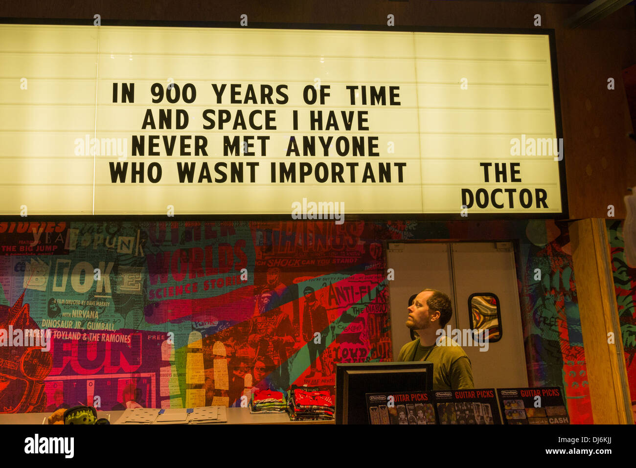 Dr Who quote, EMP Museum, Seattle Center, Seattle, Washington State, USA - Stock Image