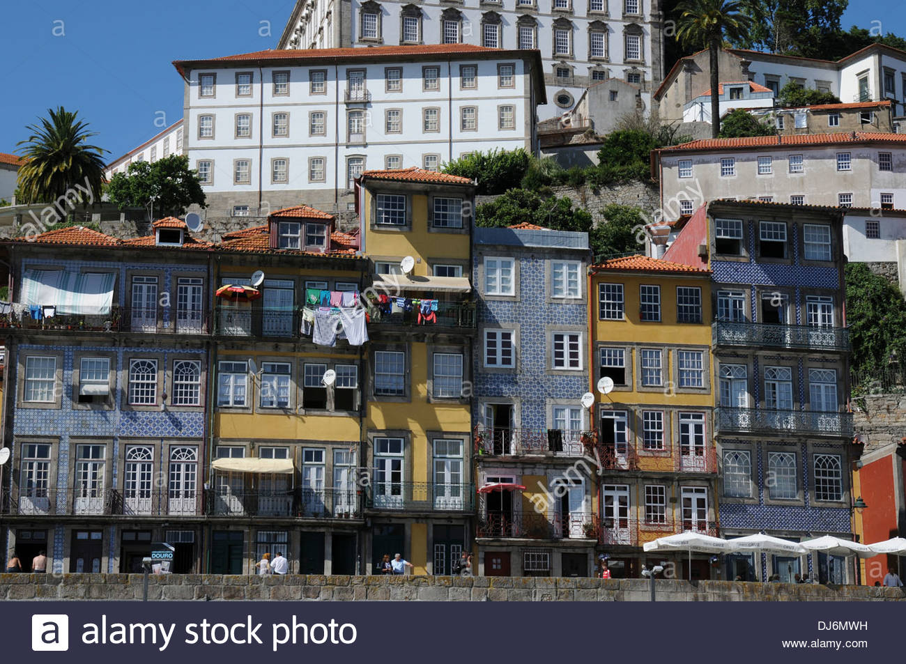 Buildings on the waterfront of the River Douro, Oporto, Portugal - Stock Image