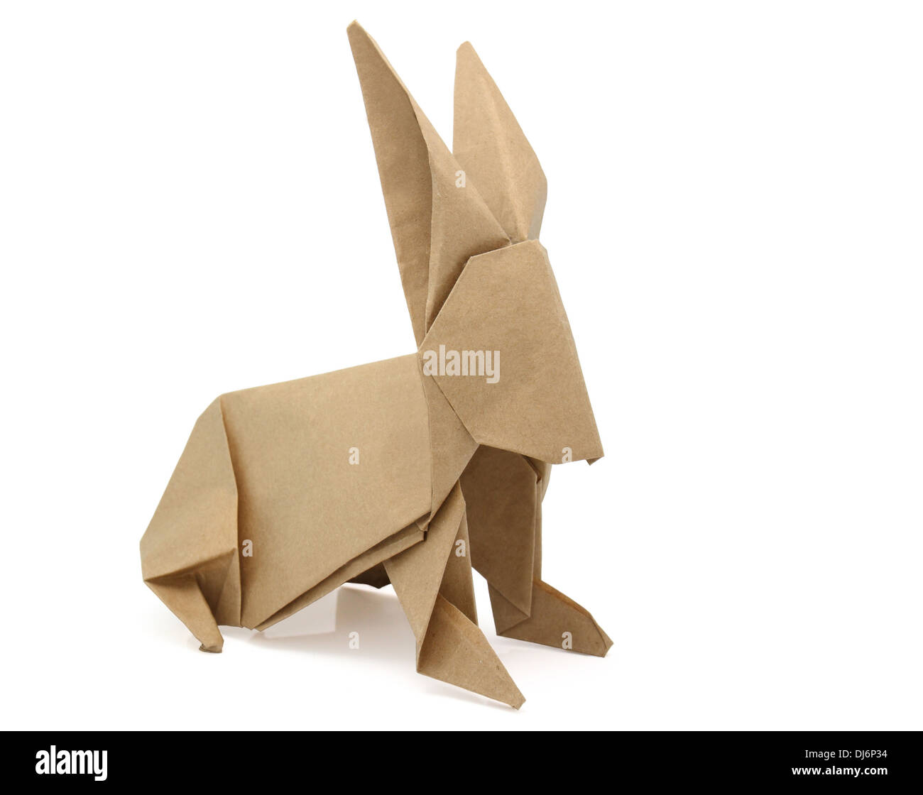 origami rabbit from recycled paper - Stock Image
