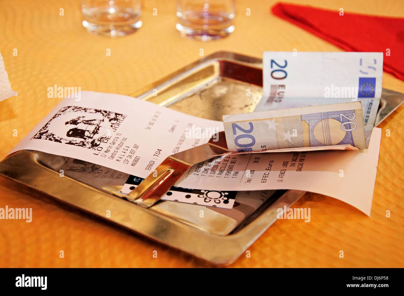 Tapas receipt in a city centre Tapas Bar, Malaga, Costa del Sol, Malaga Province, Andalusia, Spain, Western Europe. - Stock Image