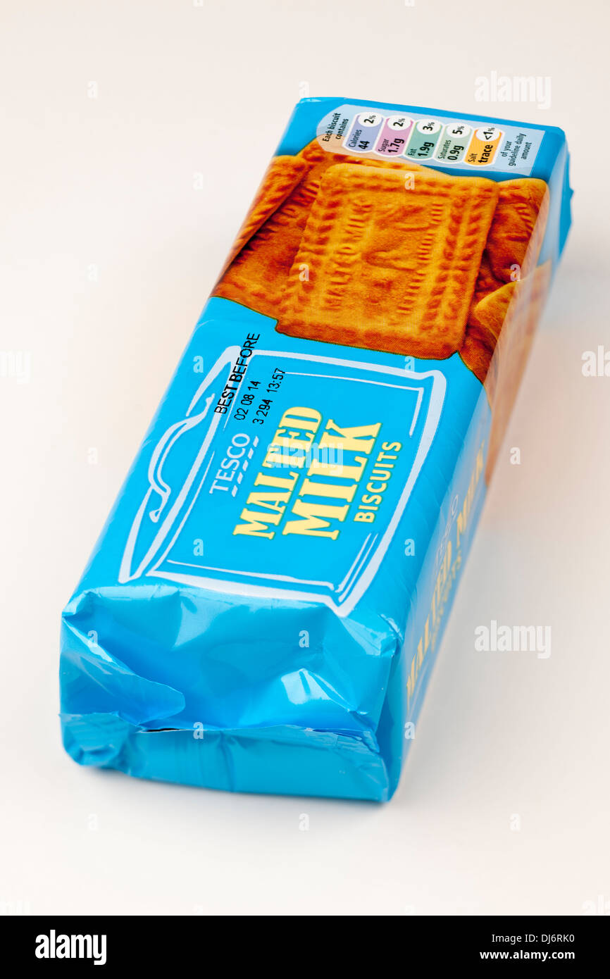 Tesco malted milk biscuits packet - Stock Image