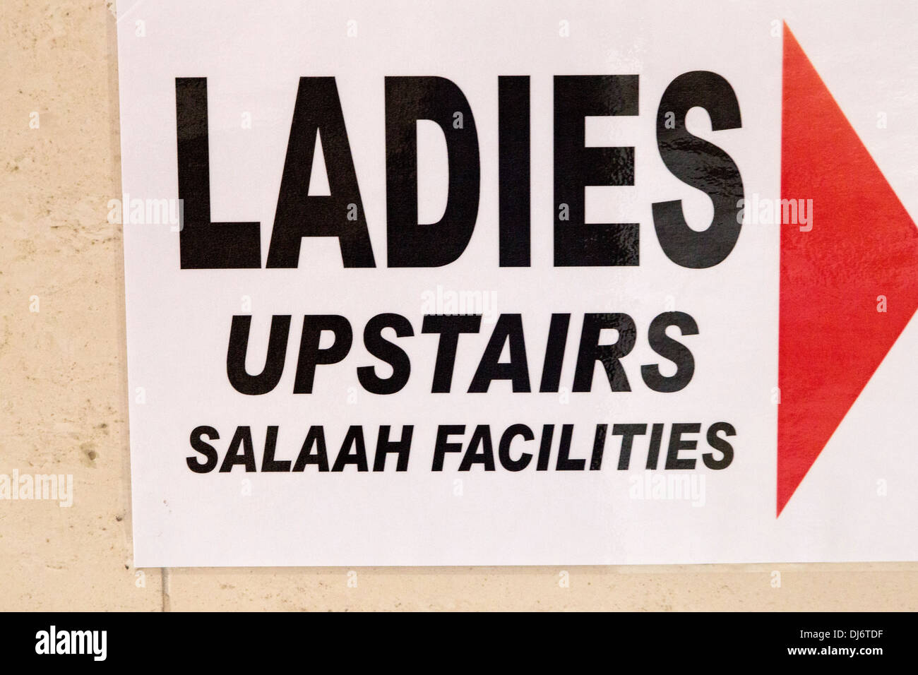 South Africa. Cape Town, Bo-kaap. Boorhaanol Mosque. Sign to Ladies Prayer Room. - Stock Image