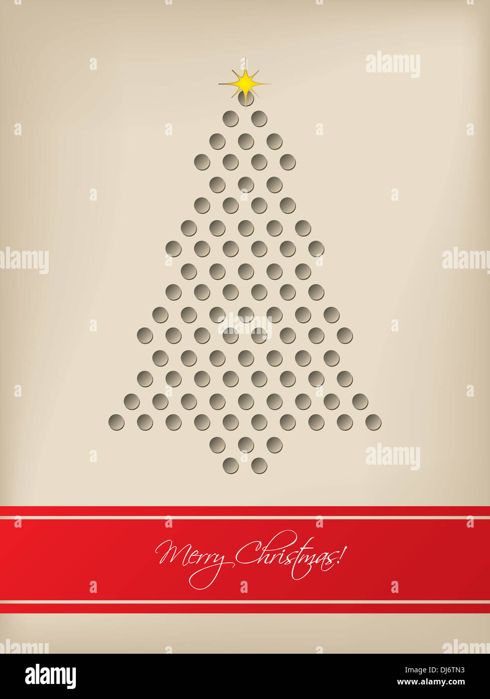 Cool Christmas Card Design With Tree Shaped 3d Dots And Red Stripe