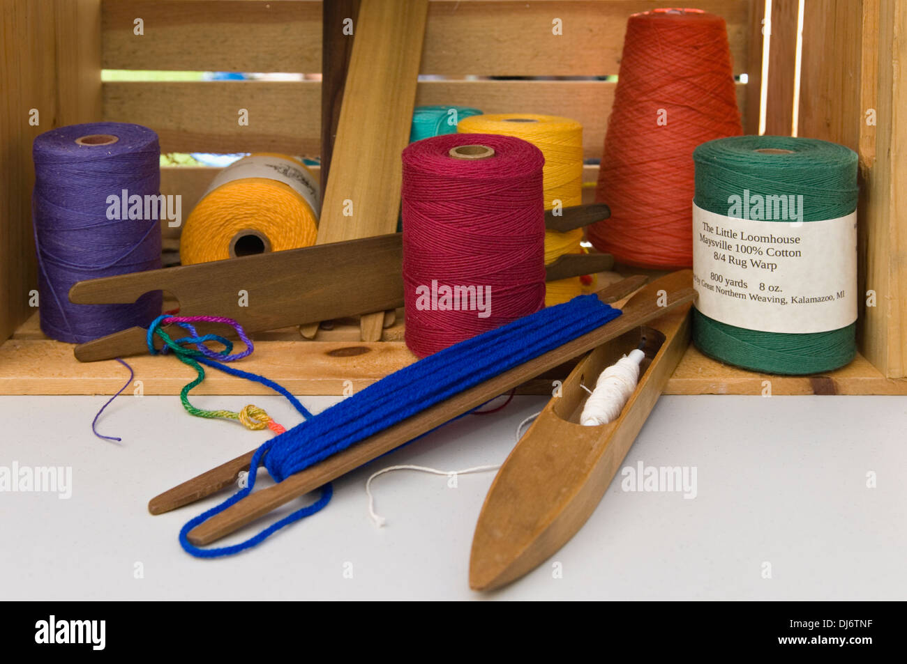 Yarn and Shuttles on Display by The Little Loomhouse in Louisville, Kentucky - Stock Image