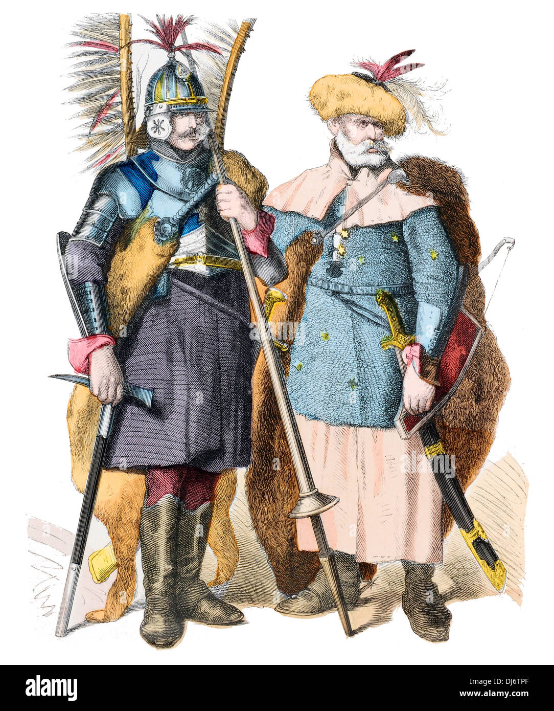 16th Century Russian Lancer and Cuirassier - Stock Image