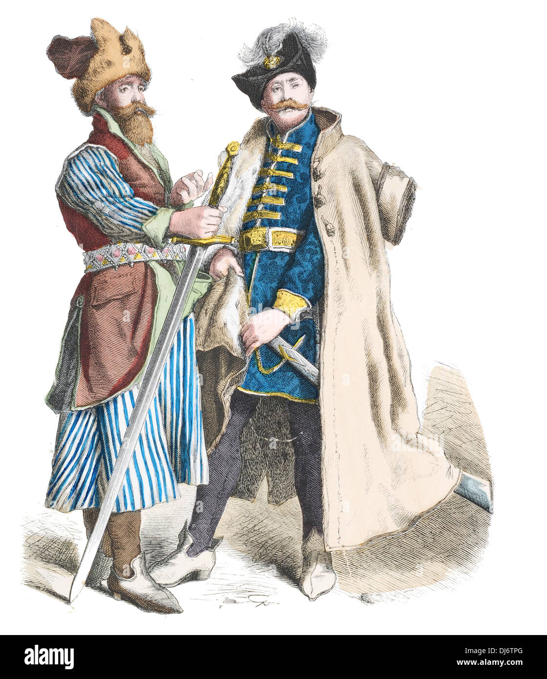 16th Century Polish Nobleman and Bornehmer Russian soldier - Stock Image