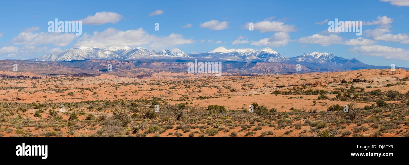La Sal Mountains from Arches National Park, Utah, USA - Stock Image
