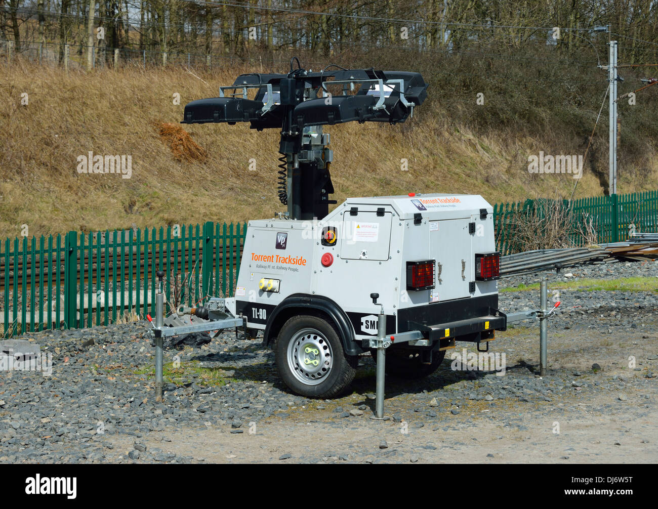 Torrent Trackside mobile lighting tower. Lowgill, Cumbria, England, United Kingdom, Europe. Stock Photo