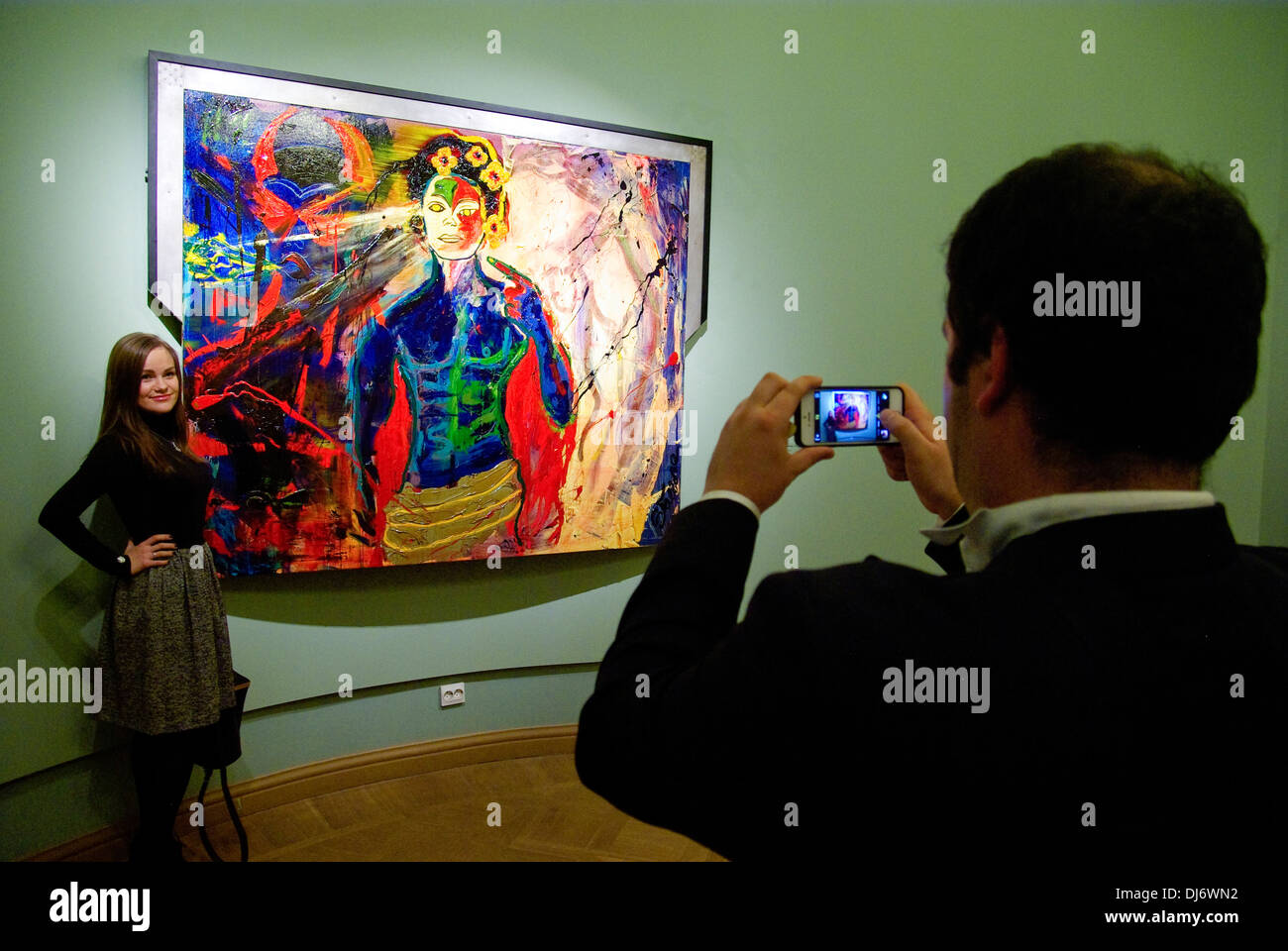 Russia. St. Petersburg. Exhibition of artwork by Sylvester Stallone in the Russian Museum. - Stock Image