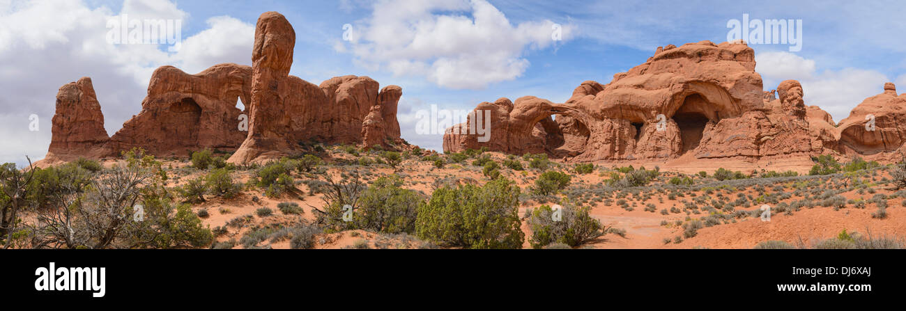 Windows Section looking towards Double Arch, Arches National Park, Utah, USA - Stock Image