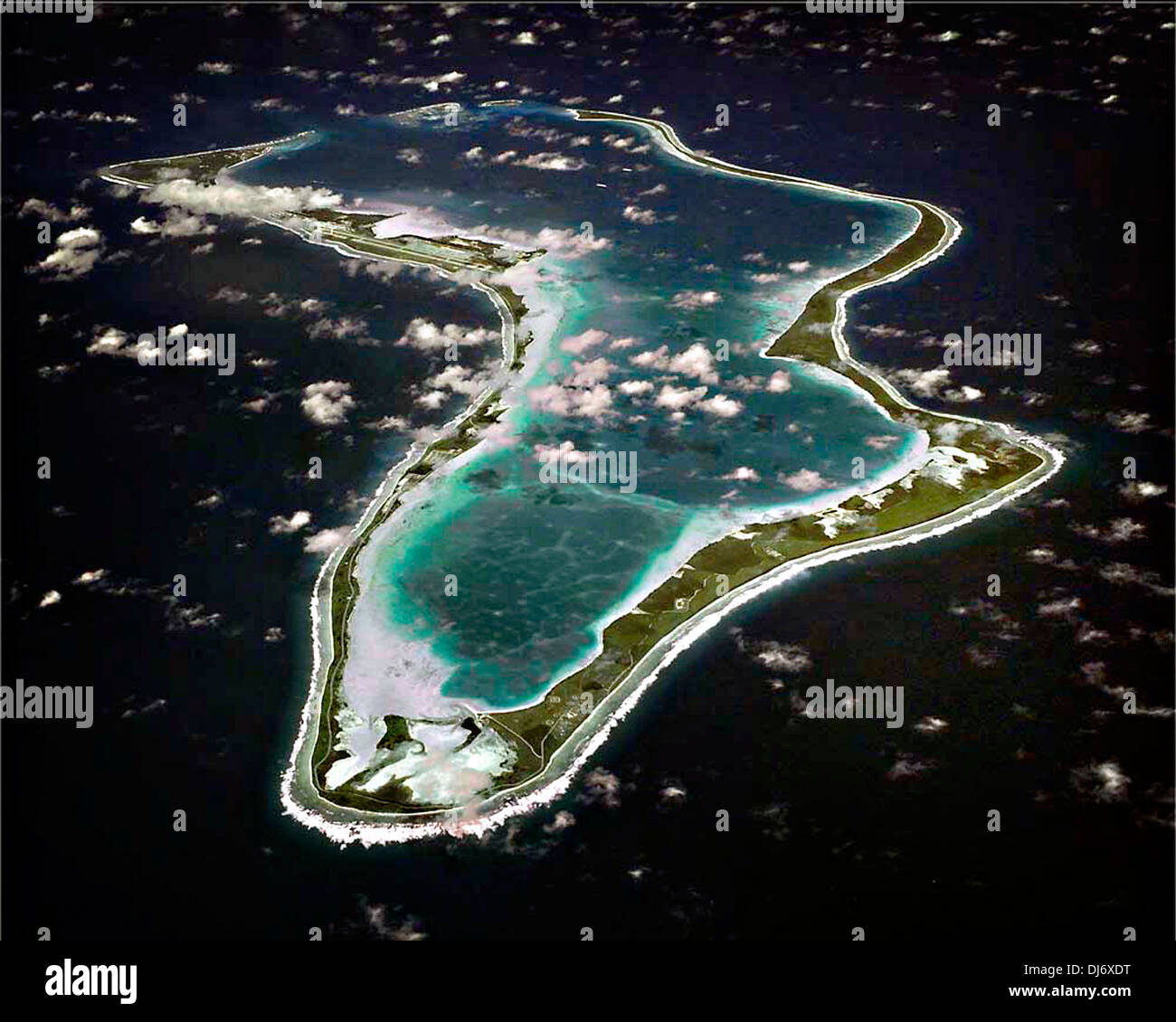 An aerial view of the British Indian Ocean Territory island of Diego Garcia November 22, 2013. - Stock Image