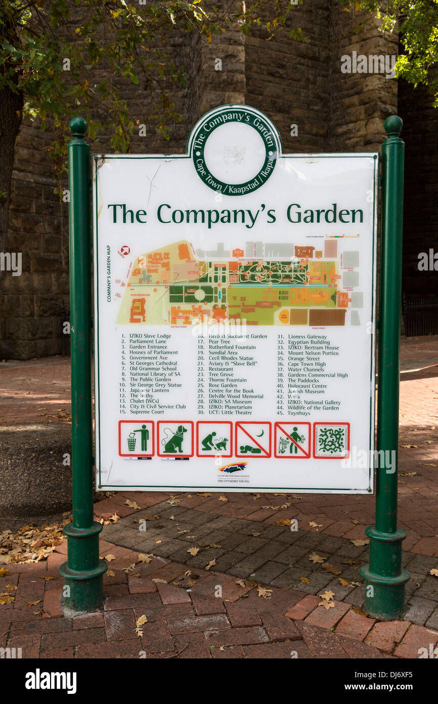 South Africa, Cape Town. Map to The Company's Garden, established in 1652 by the Dutch East India Company. - Stock Image