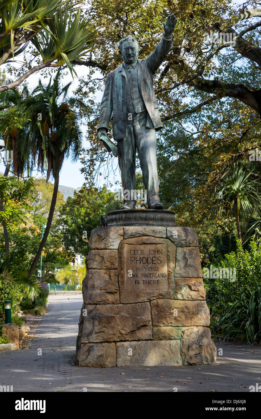 South Africa, Cape Town. Statue to Cecil Rhodes, in The Company's Garden, established by the Dutch East India Company Stock Photo