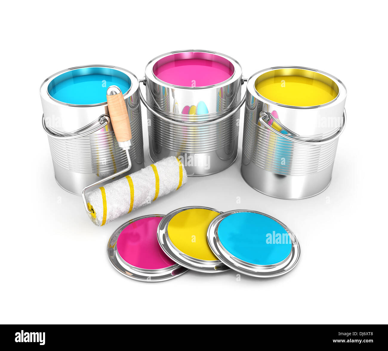 3d paint cans and roller brush isolated white background 3d image