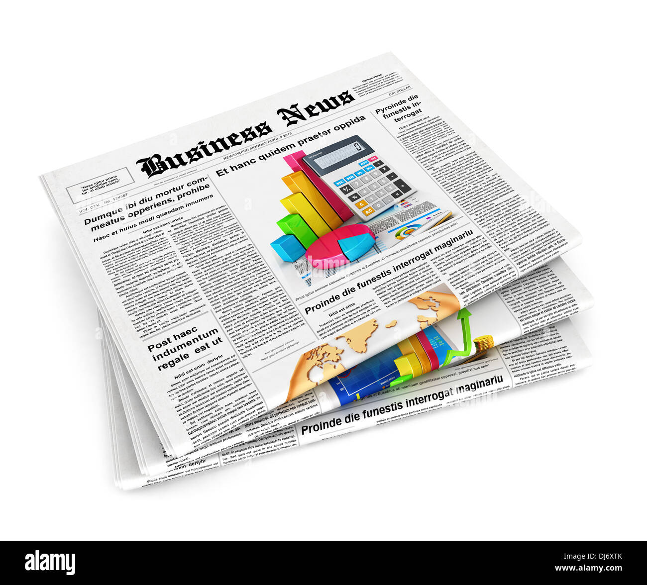 3d stack of newspapers, isolated white background, 3d image Stock Photo