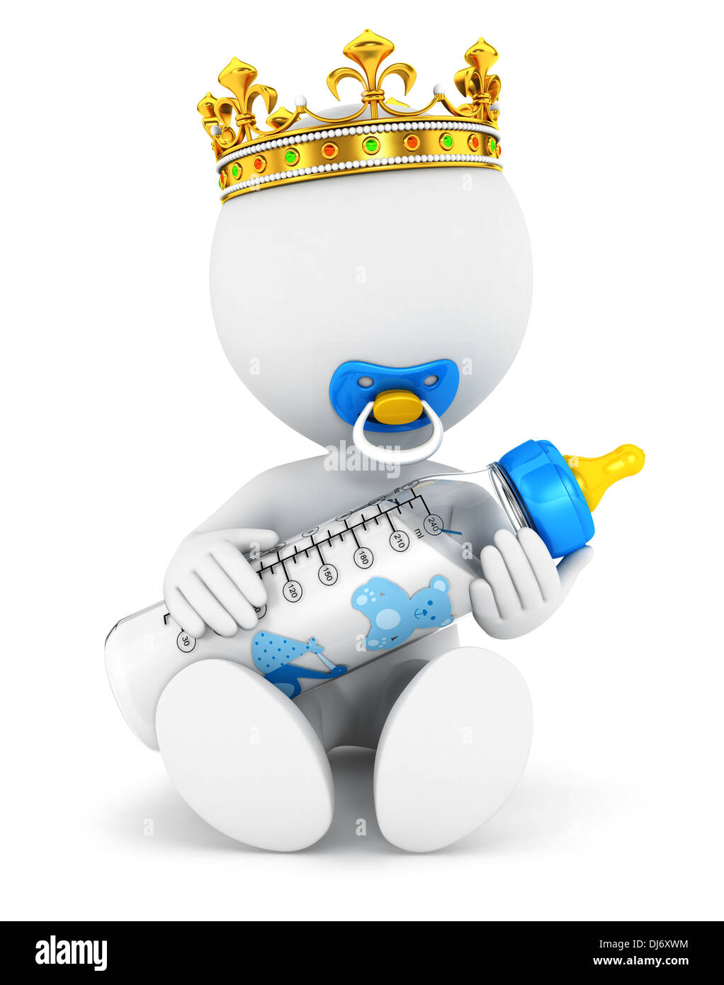 3d white people baby king, isolated white background, 3d image Stock Photo