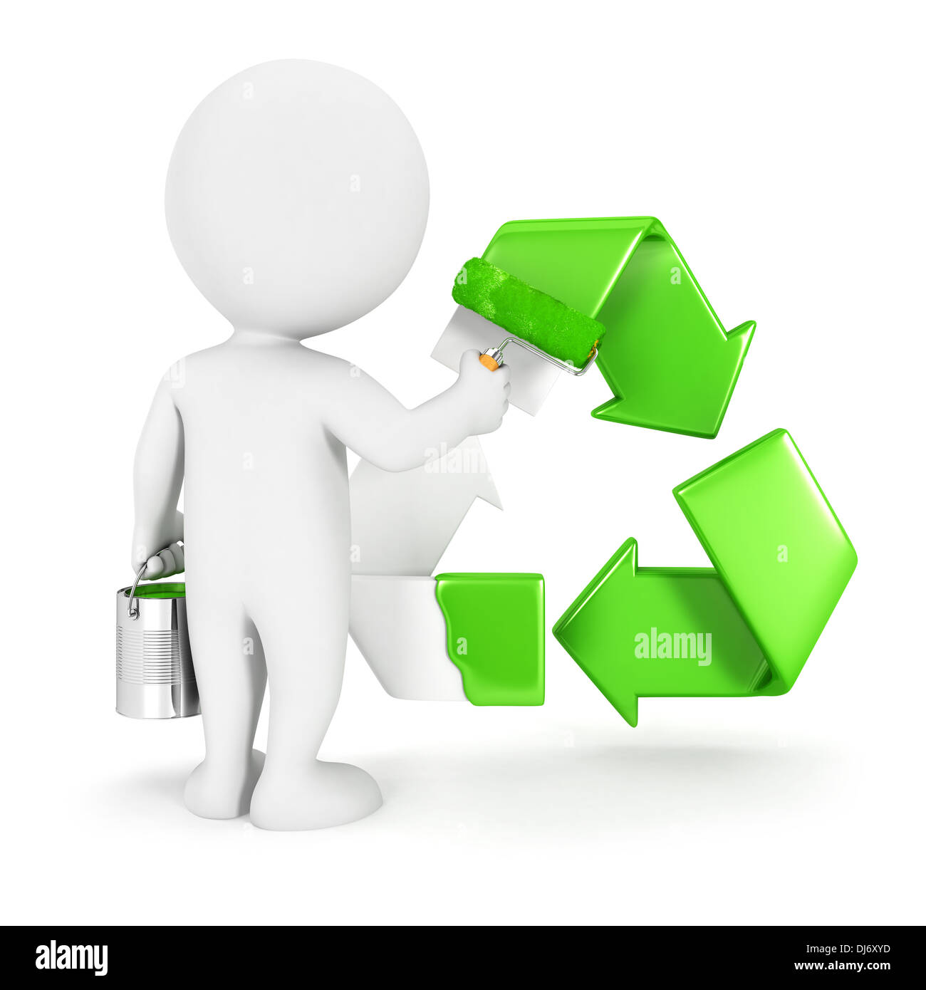 3d white people painting recycle sign, isolated white background, 3d image Stock Photo