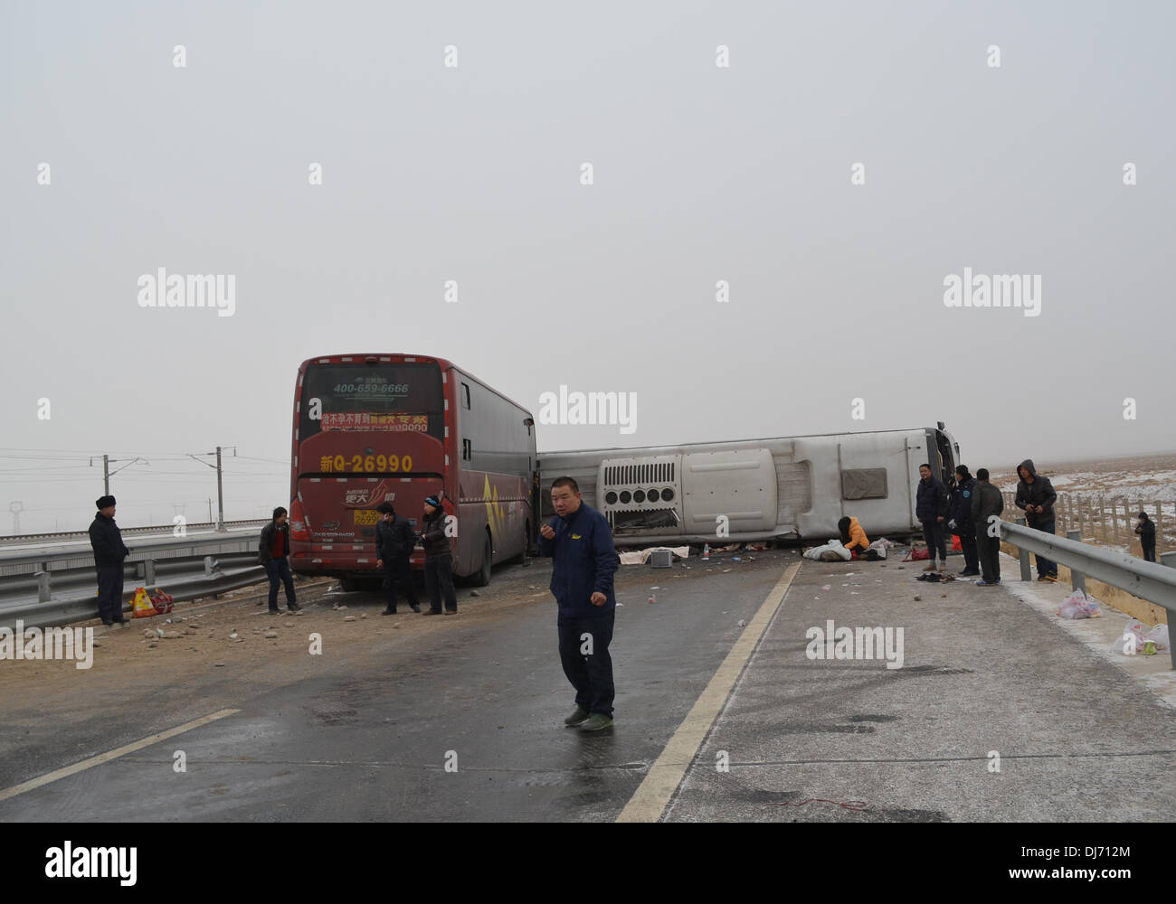 Gansu, China   23rd Nov, 2013  The site of a road accident
