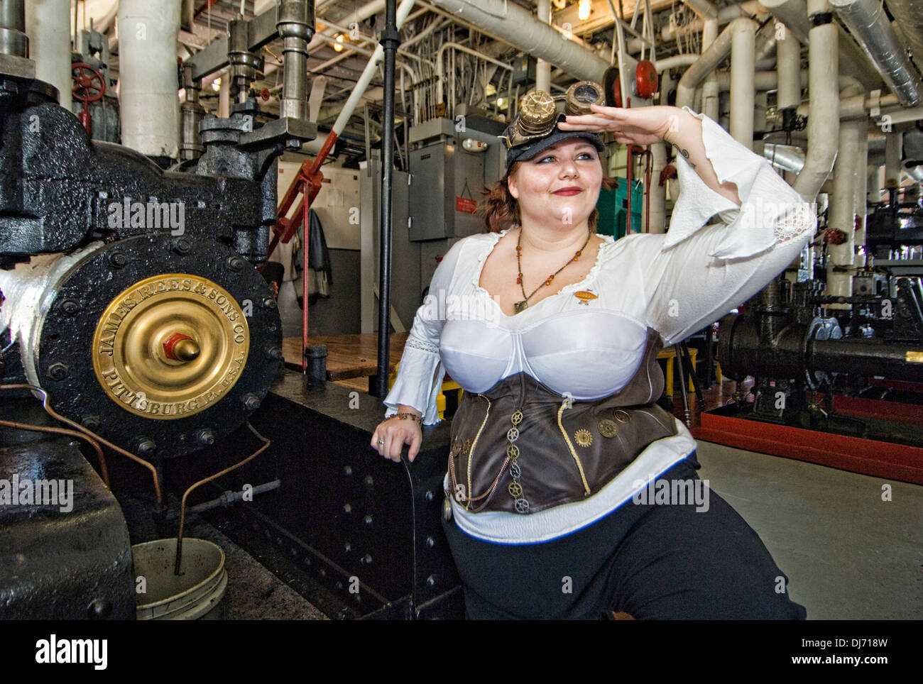 Steampunk Woman Engine Room Boat Control Brass - Stock Image