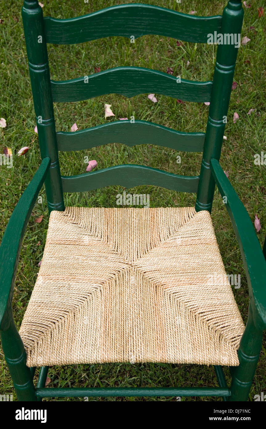 Ladder Back Chair with New Woven Rush Seat - Stock Image