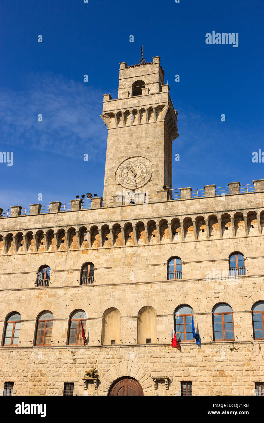 Montepulciano is a medieval and Renaissance hill town and comune in the Italian province of Siena in southern Tuscany, - Stock Image