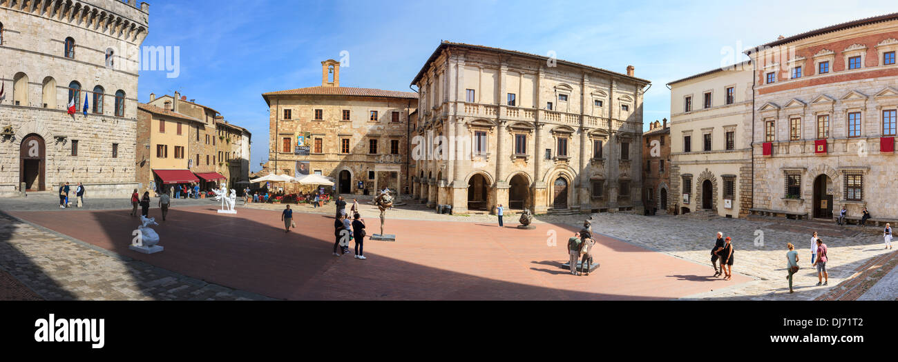 Montepulciano is a medieval and Renaissance hill town and comune in the Italian province of Siena in southern Tuscany, Italy - Stock Image