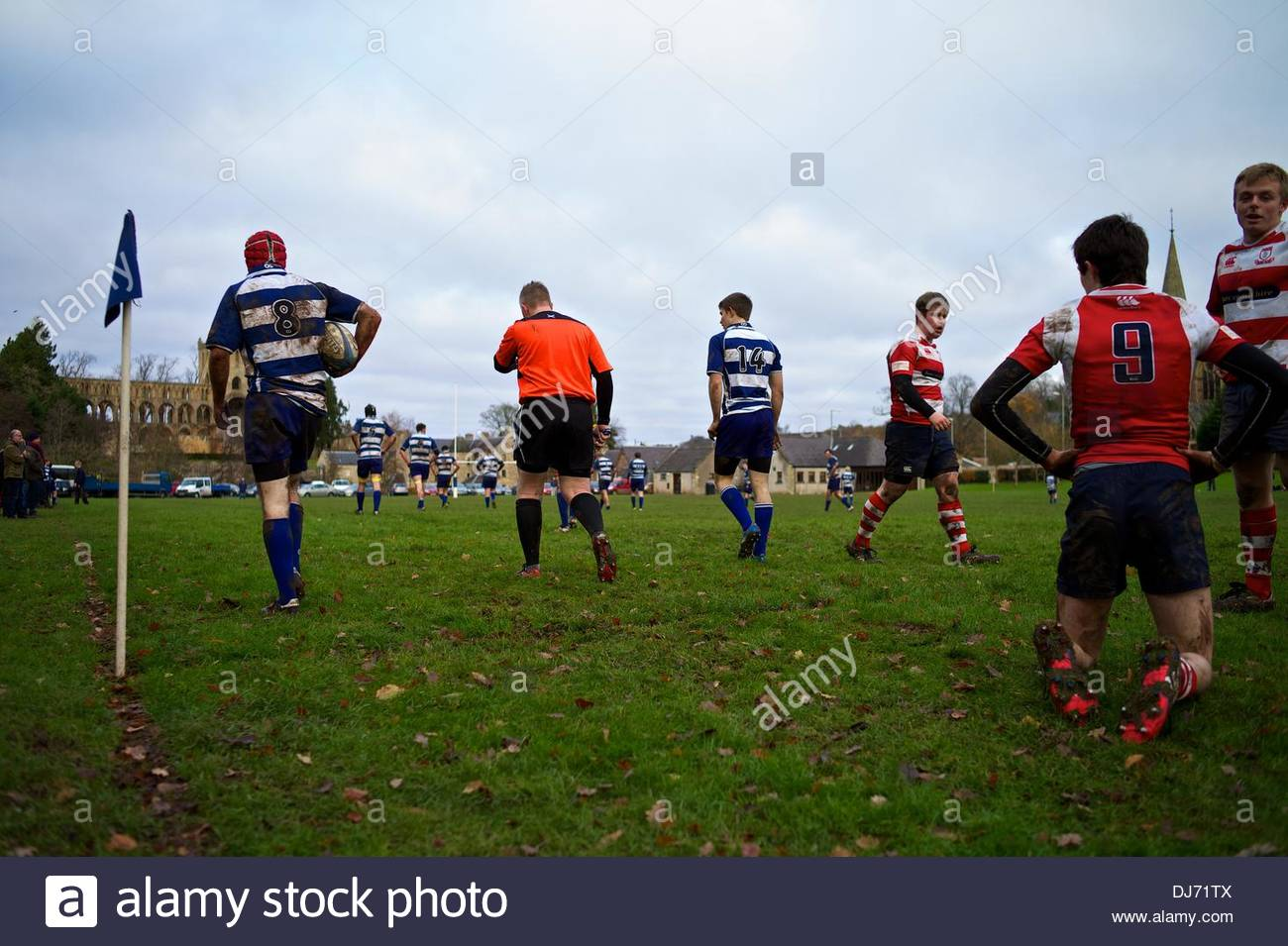 Jedburgh, Scotland, 23rd November - Local youth side Jed Thistle hammered Peebles Colts 66-7. Grass roots rugby union remains a fundamental element of Scottish Borders identity. Credit:  Chris Strickland/Alamy Live News - Stock Image