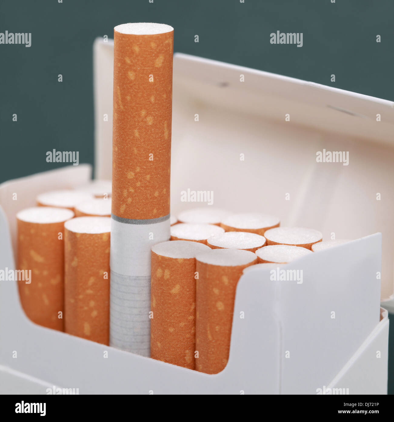Cigarettes in a pack, topic smoking and addiction - Stock Image