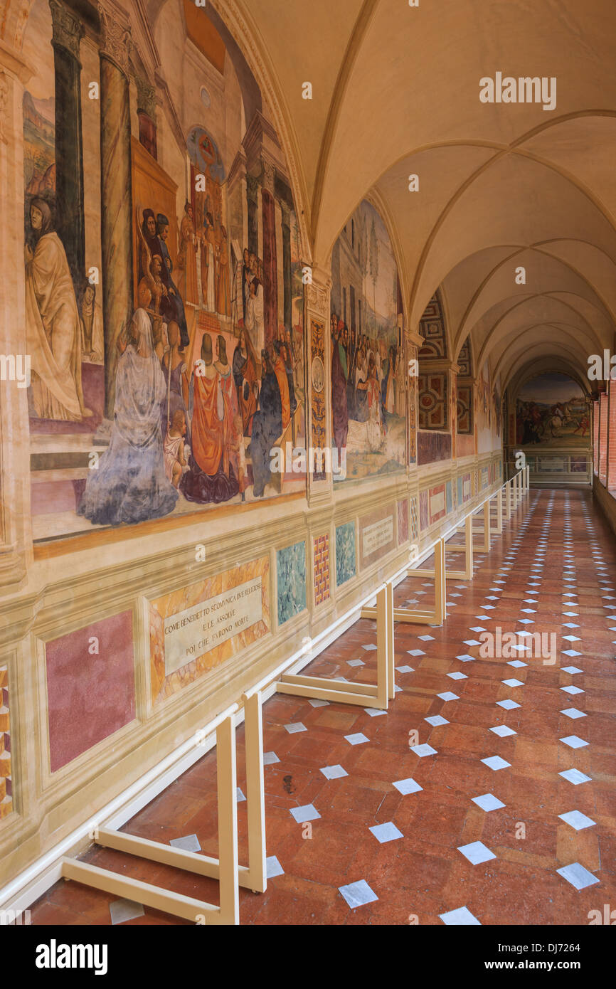 The Abbey of Monte Oliveto Maggiore is a large Benedictine monastery in the Italian region of Tuscany - Stock Image