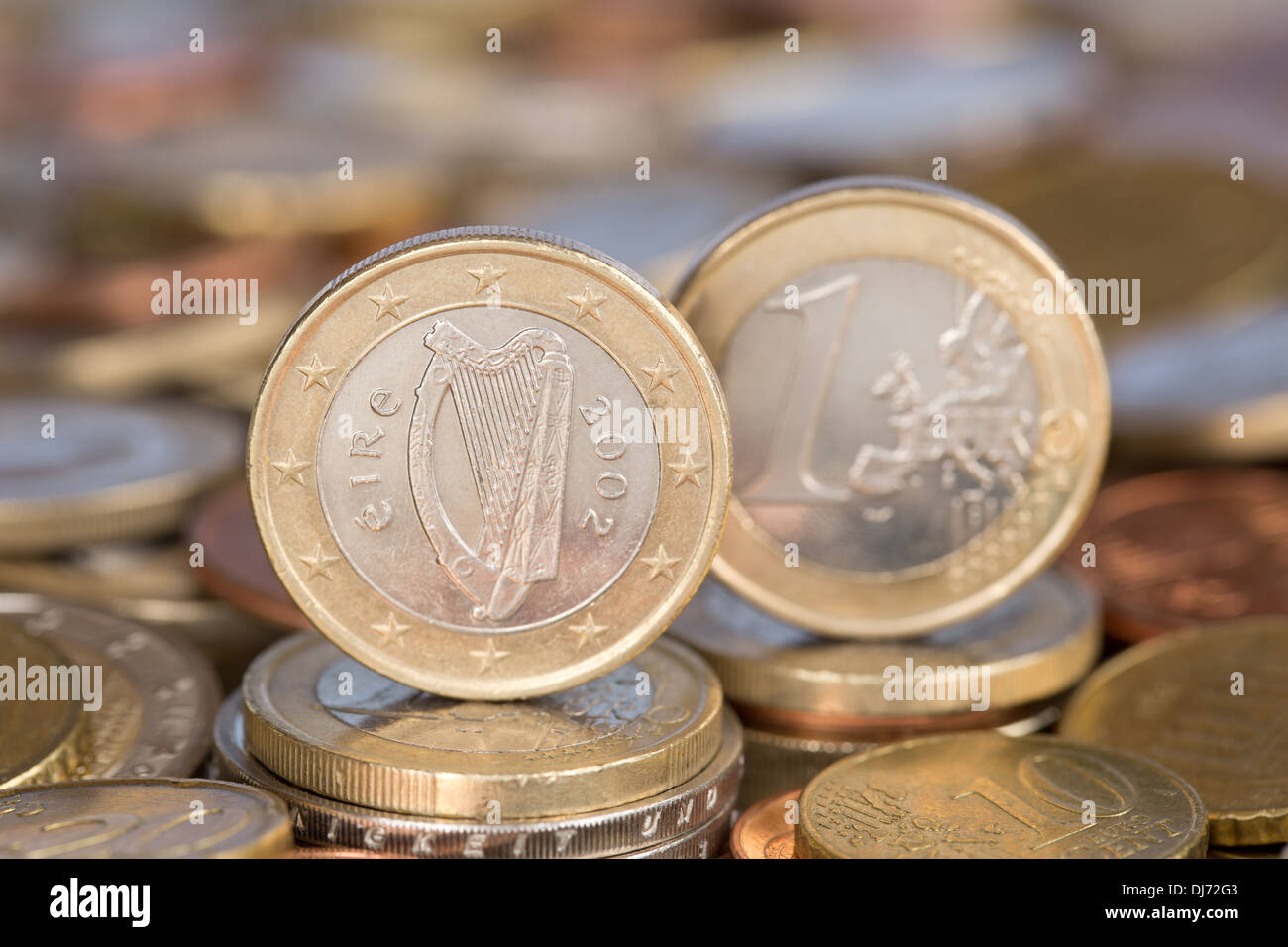 A one Euro coin from the EU member country Ireland - Stock Image