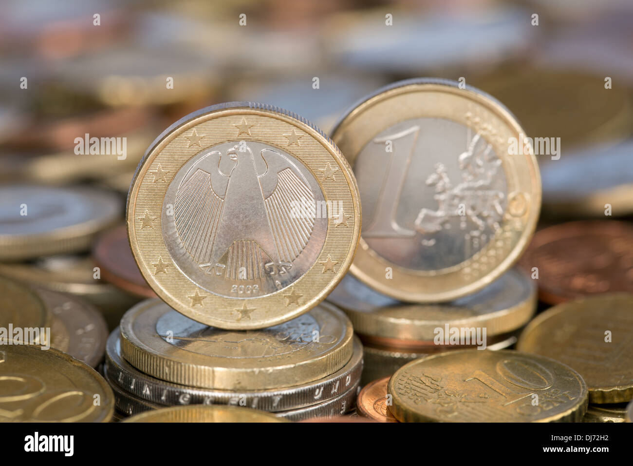 A one Euro coin from the EU member country Germany - Stock Image