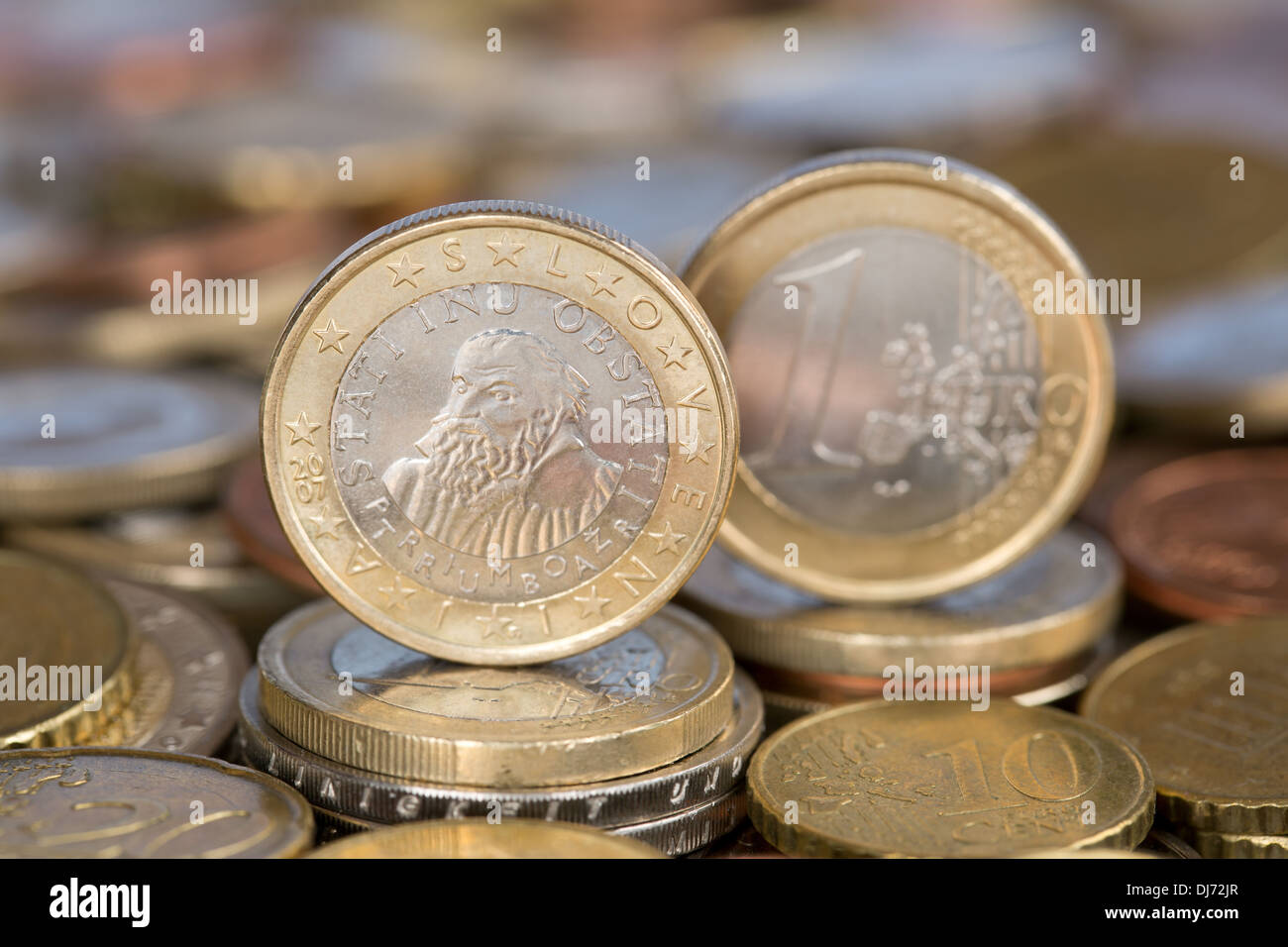 A one Euro coin from the EU member country Slovenia - Stock Image