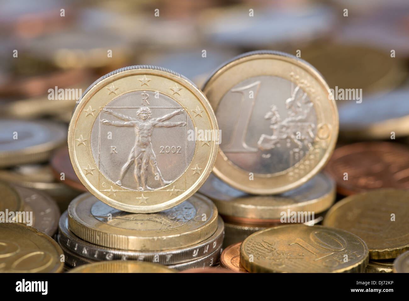 A one Euro coin from the EU member country Italy - Stock Image