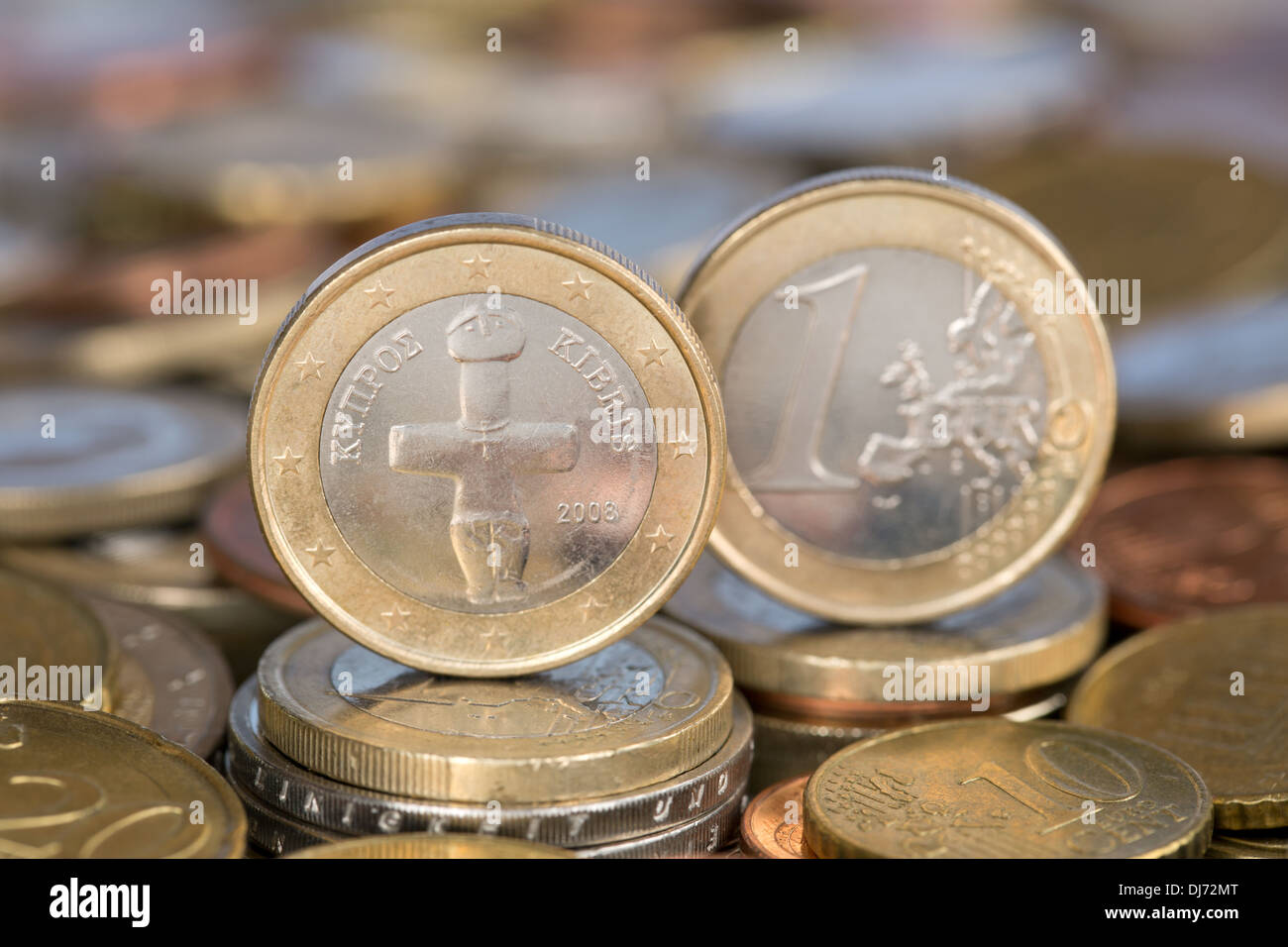 A one Euro coin from the EU member country Cyprus - Stock Image