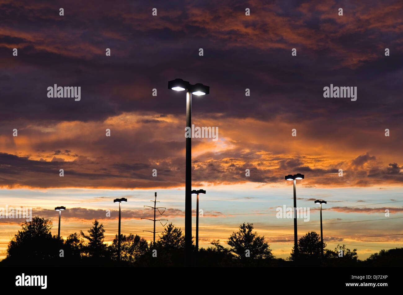 Sunset from Shopping Center - Stock Image