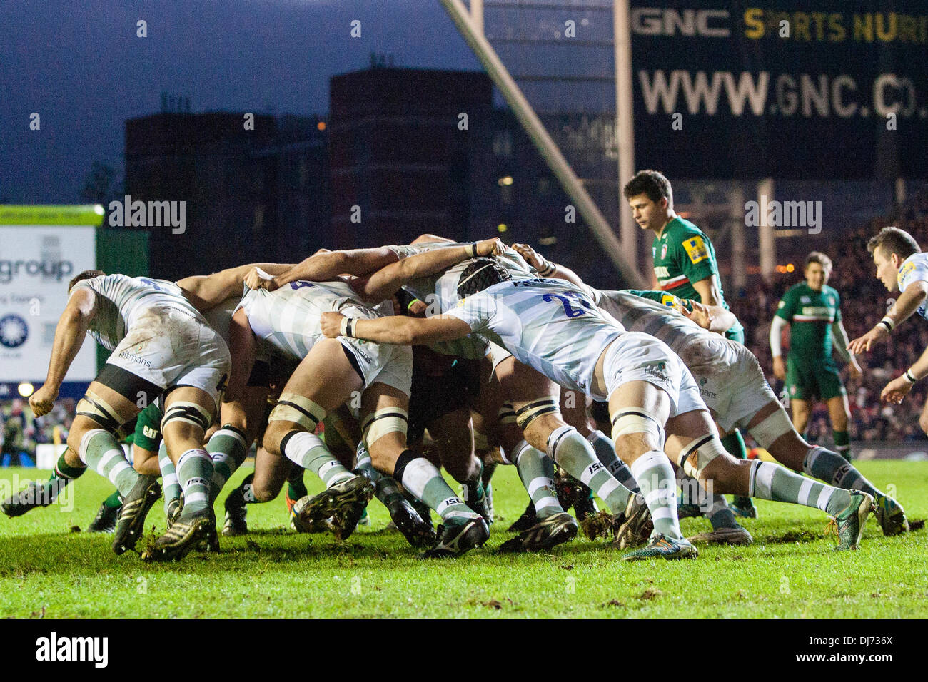 Leicester, UK. 23rd Nov, 2013. A view of one of a number of reset scrums on the London Irish line during the Aviva Premiership Rugby Union fixture between Leicester Tigers and London Irish from Welford Road. The Leicester Tigers scrum was superior and eventually a penalty try was awarded. Credit:  Action Plus Sports/Alamy Live News - Stock Image