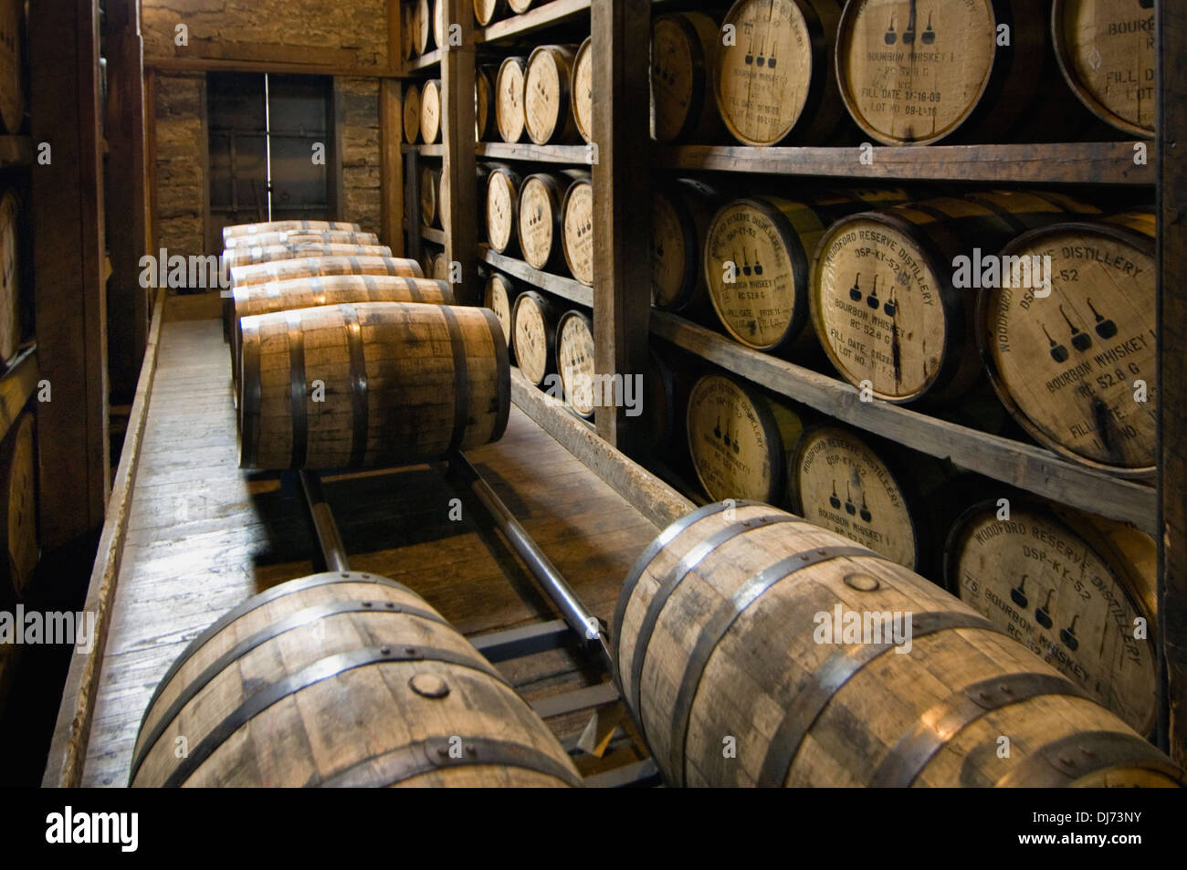 Barrels Of Bourbon Aging In A Rick House At Woodford