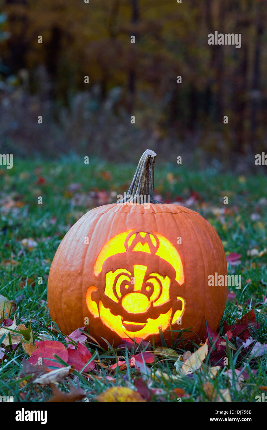 Jack-o-lantern Carved to Look Like Mario of Super Mario Brothers - Stock Image