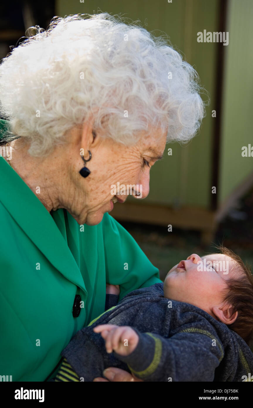 Ninety Year Old Great Grandfmother with Her New Great Grandson - Stock Image