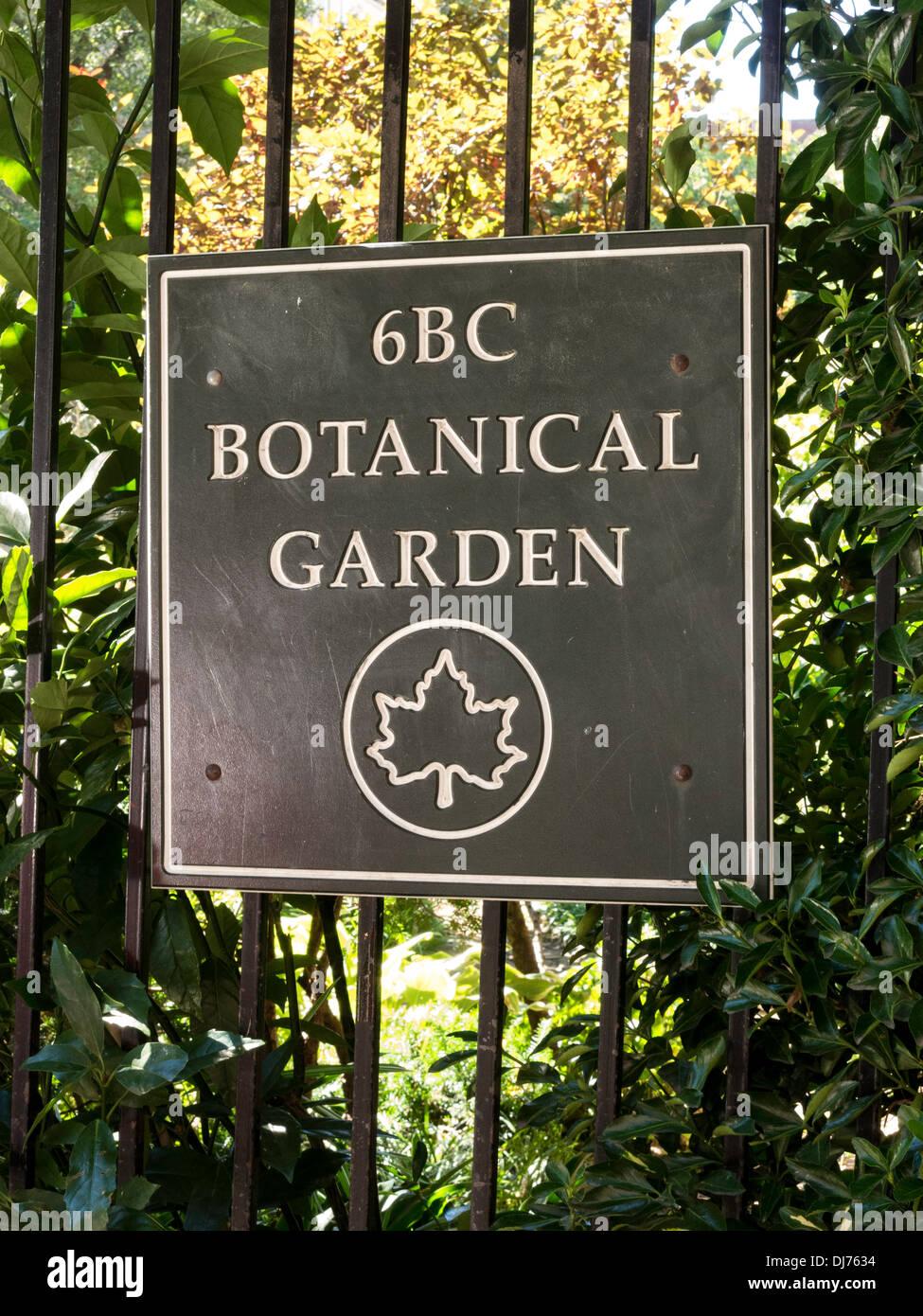 6BC Botanical Garden Sign, NYC Stock Photo: 62853368 - Alamy