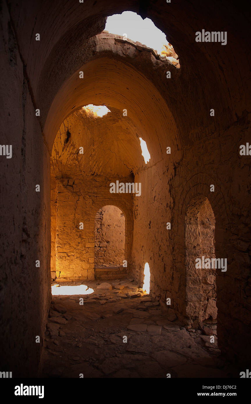 View inside a hall within the complex of St. Simeon's Monastery at Aswan, Egypt. - Stock Image