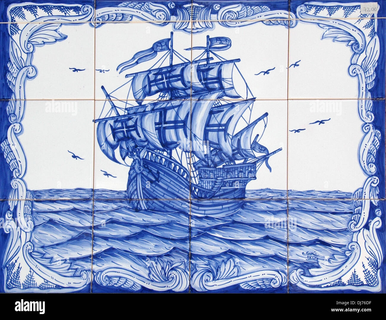 Painted tin-glazed ceramic Azulejos tiles depicting a Portuguese ...