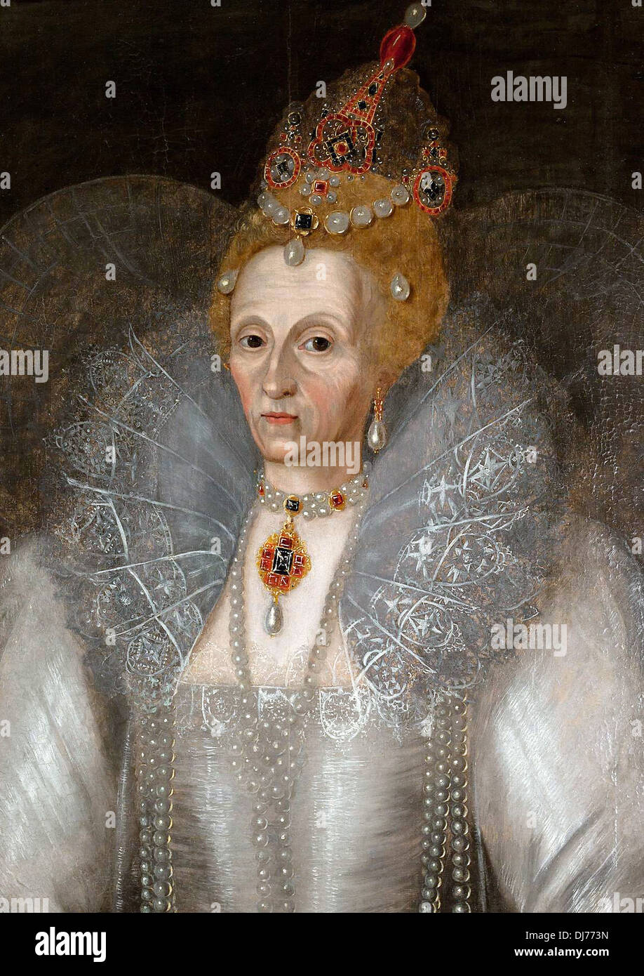 Realistic portrait of Queen Elizabeth I - Stock Image