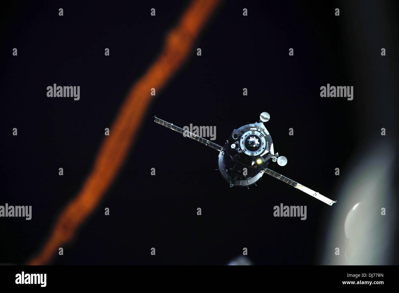Soyuz TMA-08M spacecraft as it departs - Stock Image