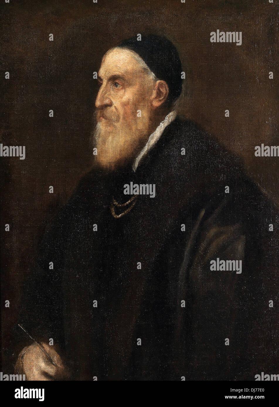 Titian, Tiziano Vecellio, self portrait - Stock Image