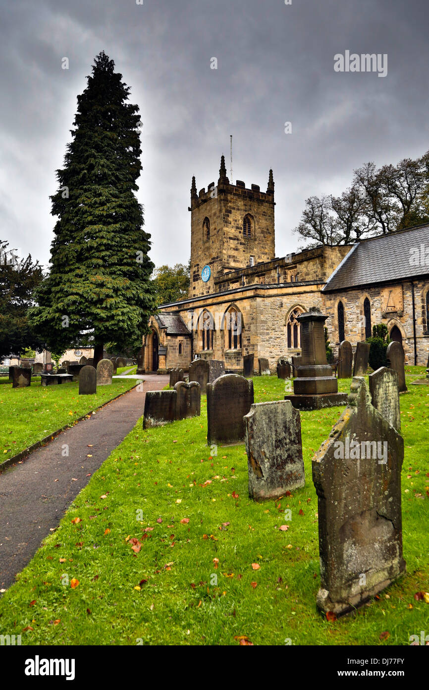 Eyam; Church; Derbyshire; UK - Stock Image