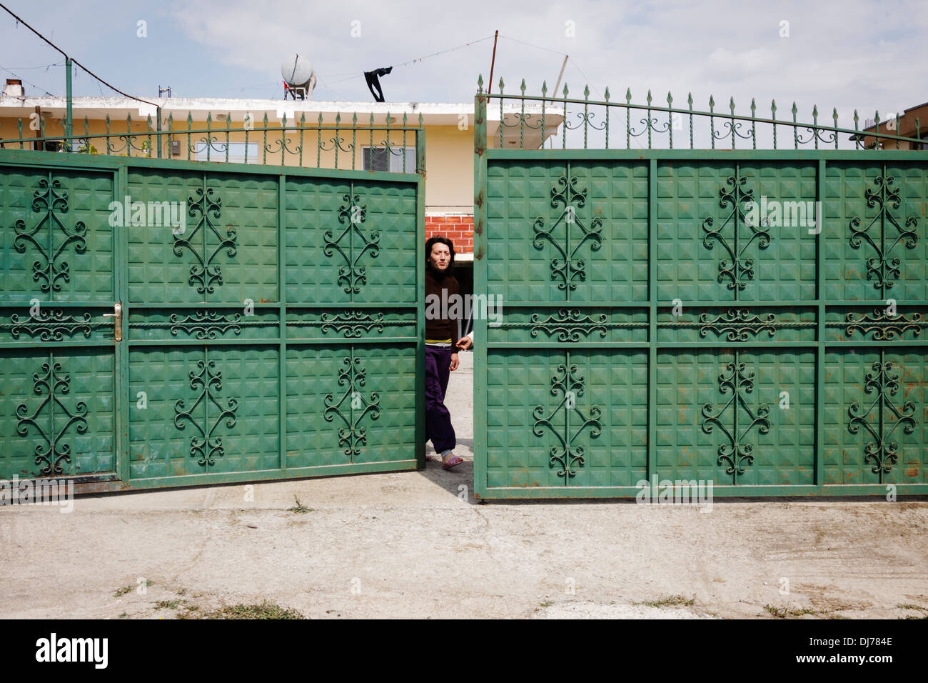 Albanian woman living locked at home under the threat of Kanun blood feud. - Stock Image