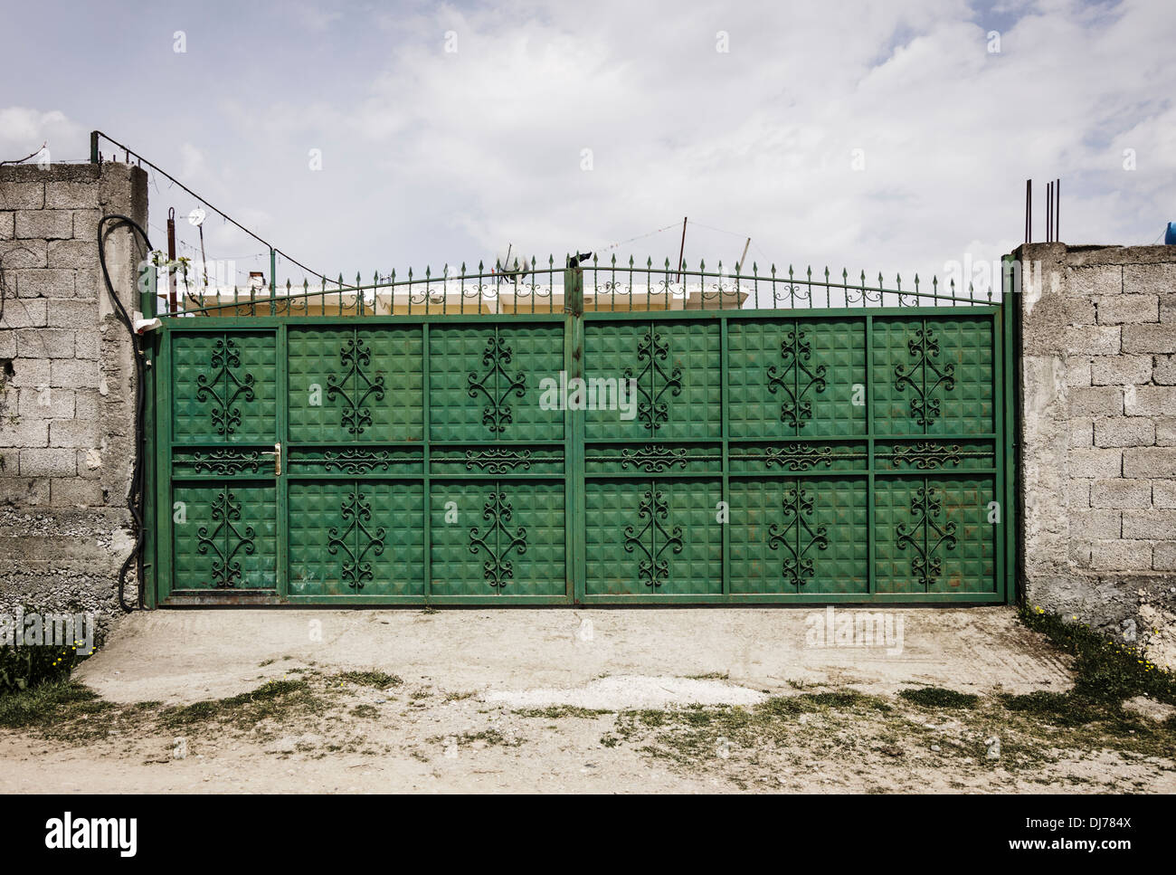 Locked door of a dwelling under the threat of Kanun blood feud. - Stock Image